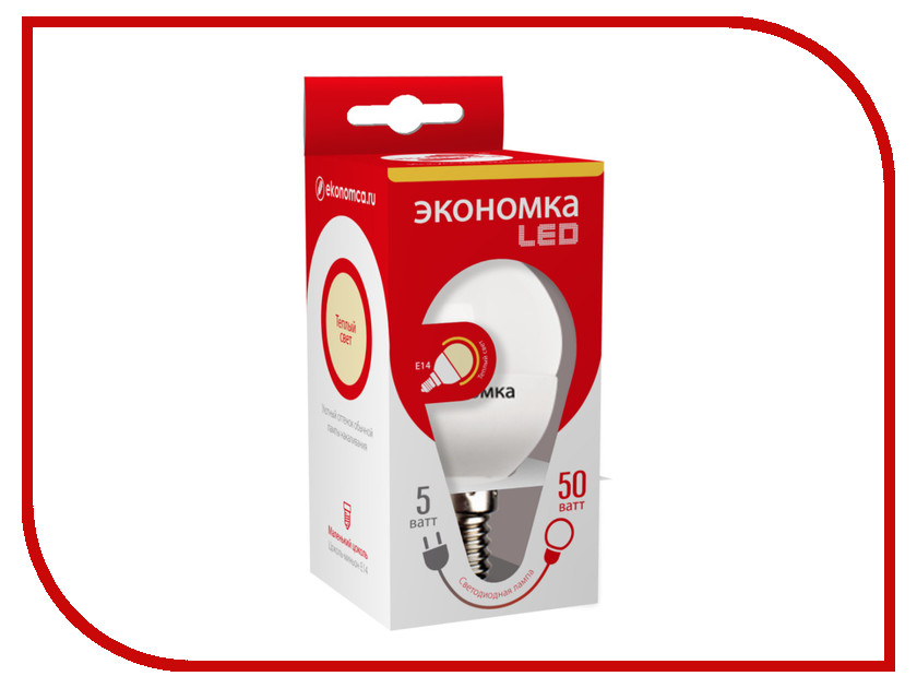 Лампочка Экономка Шарик GL45 5W E14 230V 3000K Eco_LED5WGL45E1430