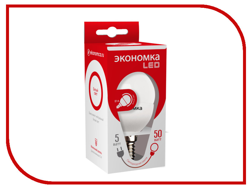 Лампочка Экономка Шарик GL45 5W E14 230V 4500K Eco_LED5WGL45E1445 упаковка ламп 3 шт экономка рефлектор r50 6вт е14 230v 4500k белый свет