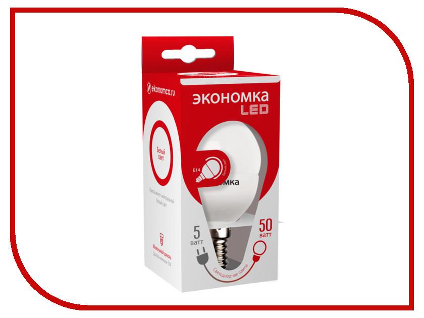 Лампочка Экономка Шарик GL45 5W E14 230V 4500K Eco_LED5WGL45E1445 лампочка экономка свеча 5w e14 230v 4500k eco led5wcne1445