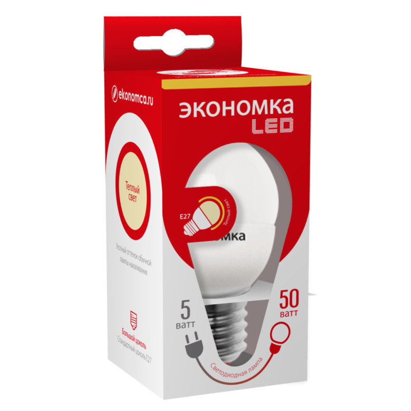 Лампочка Экономка Шарик G45 E27 5W 230V 3000K 280Lm Warm Light Eco_LED5WGL45E2730