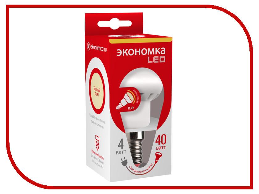 Лампочка Экономка Рефлектор R39 4W E14 230V 3000K Eco_LED4WR39E1430 упаковка ламп 3 шт экономка рефлектор r50 6вт е14 230v 4500k белый свет
