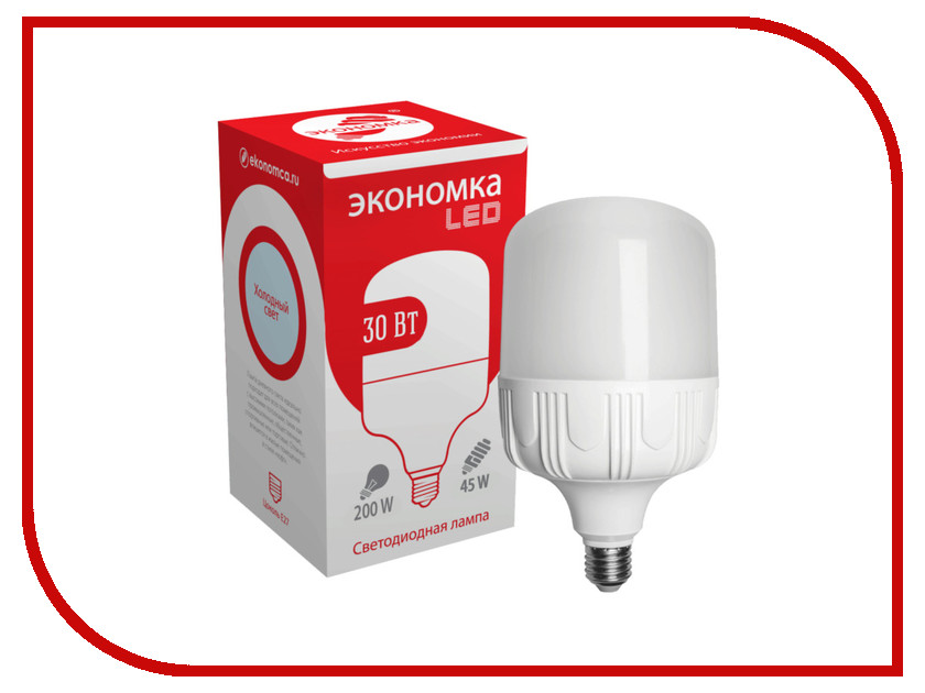 Лампочка Экономка LED 30W E27 6500K Eco30wHWLEDE2765 лампочка экономка a60 14w e27 230v 6500k ecol14wa60230ve2765