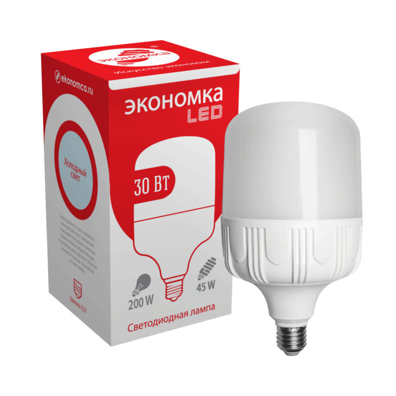 лампочка ecola classic led premium 20w a65 220 240v e27 6500k d7rd20elc Лампочка Экономка LED E27 30W 6500K Eco30wHWLEDE2765