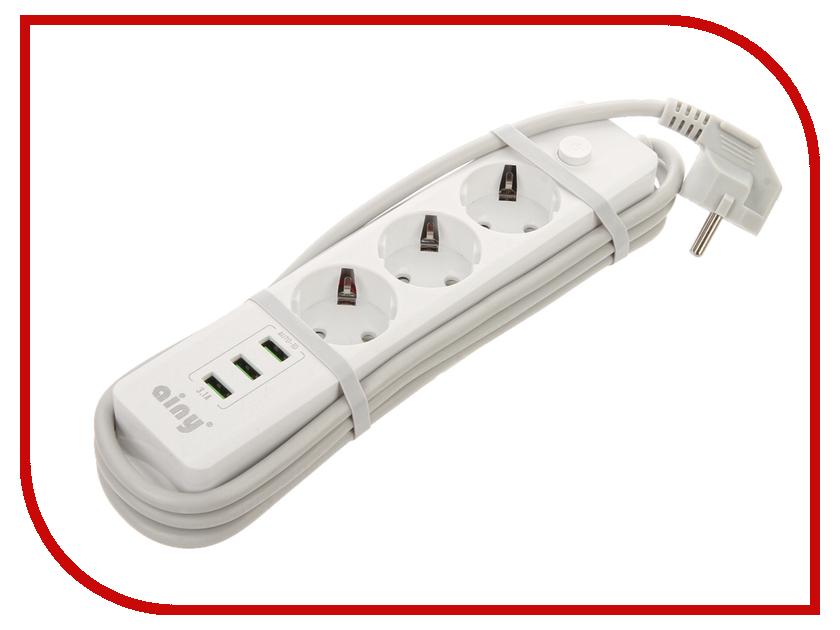 Сетевой фильтр Ainy KA-001B 3 Sockets 3xUSB White цена