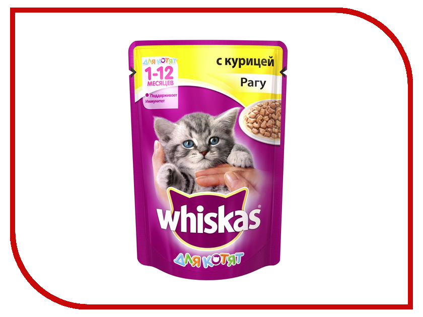 Корм Whiskas Пауч Рагу курица 85g для котят 10156197/10117319/WF902 whiskas temptations hearty beef flavour treats for cats