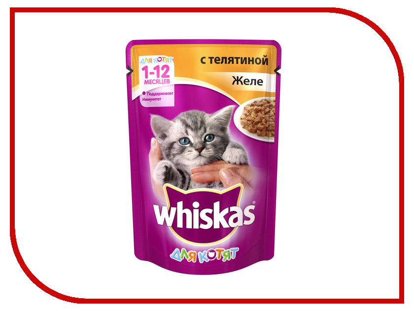 Корм Whiskas Пауч Желе телятина 85g для котят 10156201/10117317/WF418 whiskas temptations hearty beef flavour treats for cats