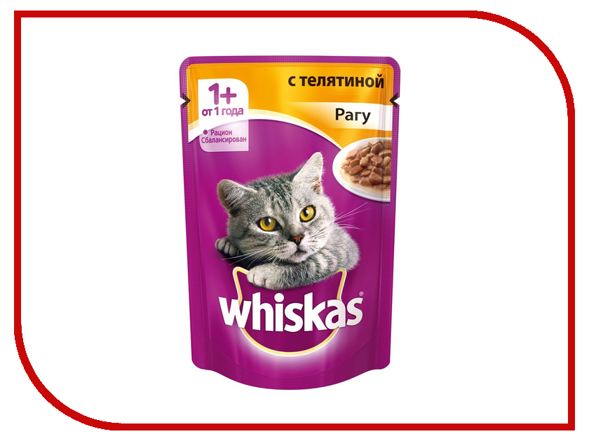 Корм Whiskas Пауч Рагу телятина 85g для кошек 10155471/10137262 whiskas temptations hearty beef flavour treats for cats