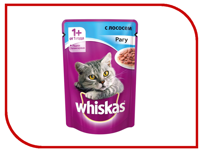 Корм Whiskas Пауч Рагу с лососем 85g для кошек 10155465/10137258 whiskas temptations hearty beef flavour treats for cats