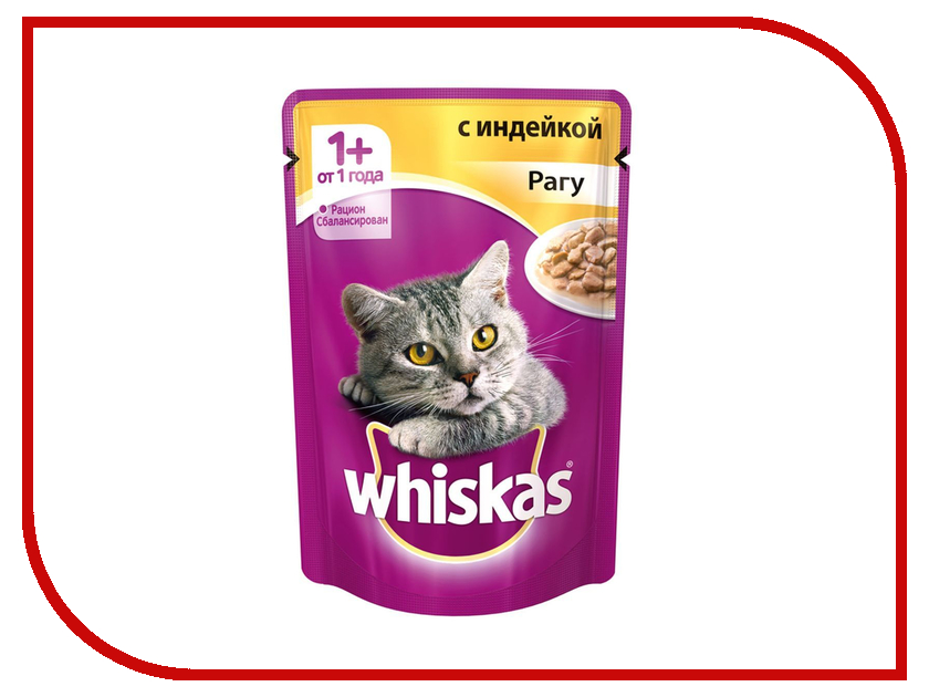 Корм Whiskas Пауч Рагу с индейкой 85g 10155475/10137266 whiskas temptations hearty beef flavour treats for cats