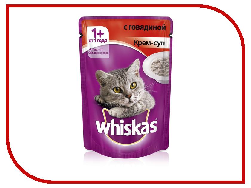 Корм Whiskas Пауч Крем-суп с говядиной 85g для кошек 10156264/10151091