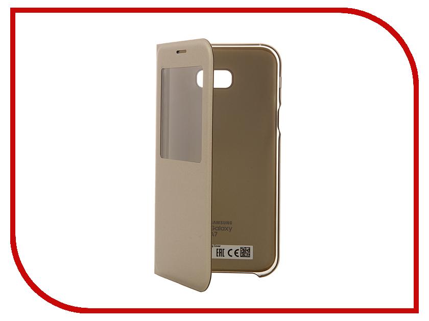 Аксессуар Чехол Samsung Galaxy A7 2017 S View Standing Cover Gold EF-CA720PFEGRU<br>