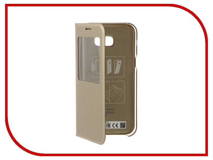 Аксессуар Чехол Samsung Galaxy A5 2017 S View Standing Cover Gold EF-CA520PFEGRU аксессуар чехол samsung galaxy note 5 s view cover gold ef cn920pfegru