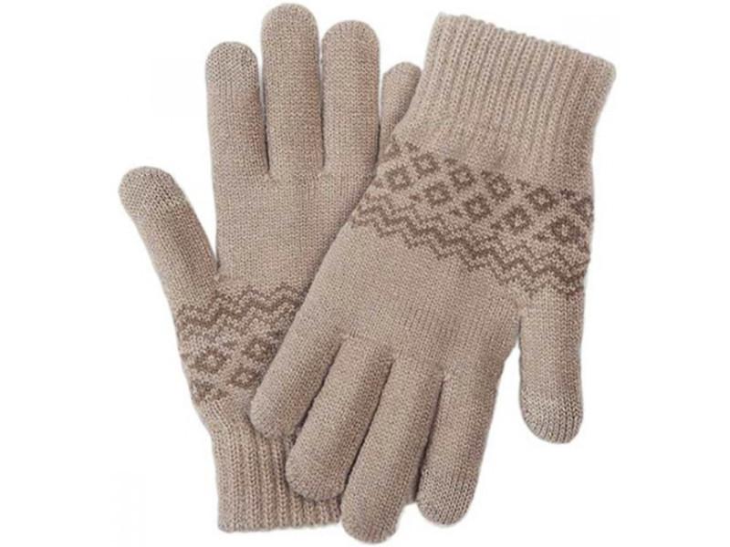 Теплые перчатки для сенсорных дисплеев Xiaomi Mi Wool Screen Touch Gloves Woman р.UNI Beige
