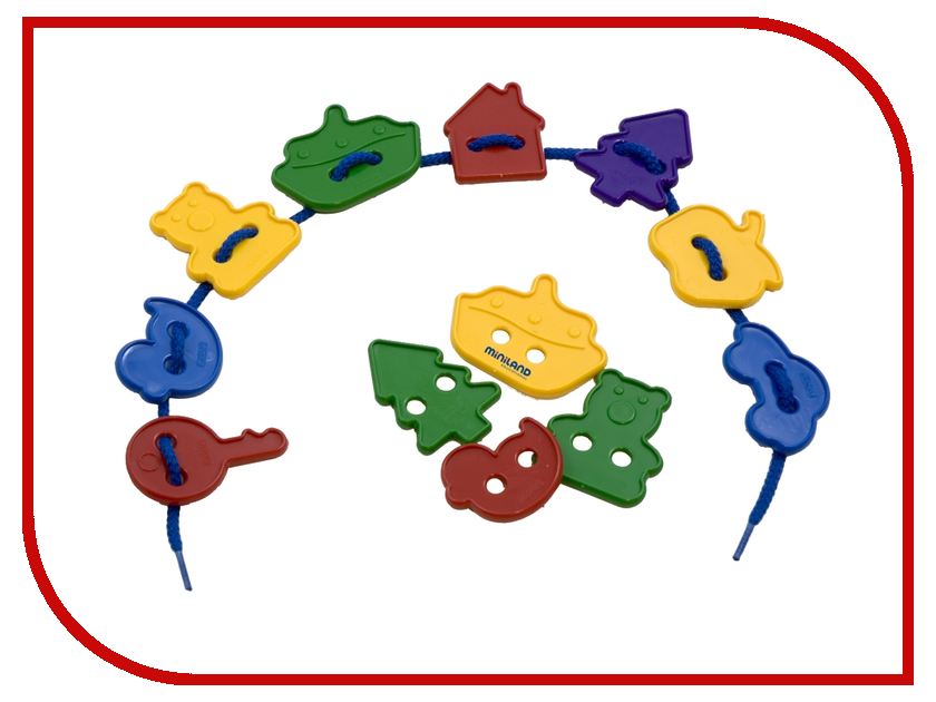 Набор для творчества Miniland Обучающий набор со шнуровкой Ассорти 31767 ботильоны со шнуровкой