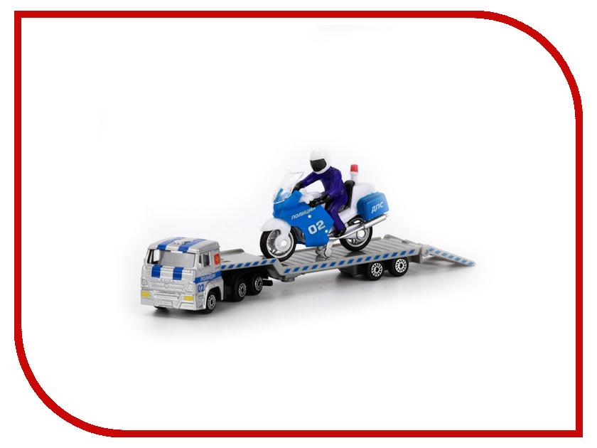 Игрушка Технопарк КАМАЗ перевозчик с мотоциклом на прицепе SB-16-64WB<br>