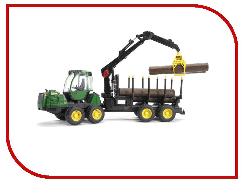 Игрушка Bruder John Deere 1210E трактор с прицепом, манипулятором и брёвнами 02-133 tomy britains трактор john deere 6210r
