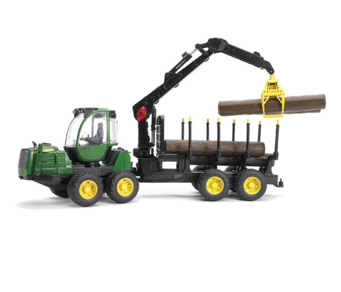 Игрушка Bruder John Deere 1210E трактор с прицепом, манипулятором и брёвнами 02-133 фото