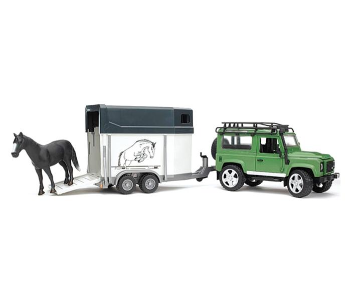 цена на Игрушка Bruder Land Rover Defender внедорожник с прицепом-коневозкой и лошадью 02-592