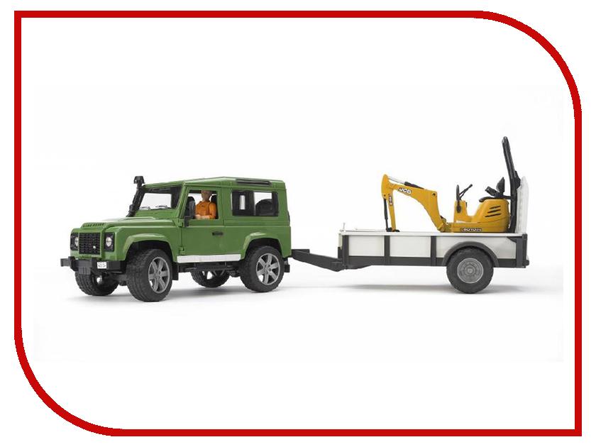 Машина Bruder Land Rover Defender внедорожник c прицепом-платформой, гусеничным мини экскаватором 8010 CTS 02-593 compurover compu rover