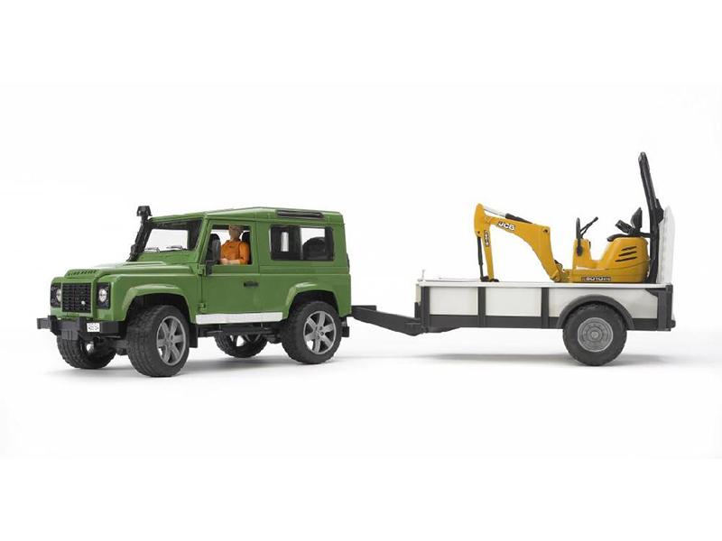 Игрушка Bruder Land Rover Defender внедорожник c прицепом-платформой, гусеничным мини экскаватором 8010 CTS 02-593