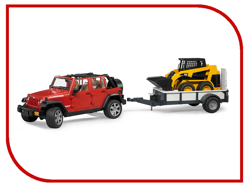 все цены на Игрушка Bruder Jeep Wrangler Unlimited Rubicon внедорожник c прицепом-платформой и колёсным мини погрузчиком CAT 02-925 онлайн