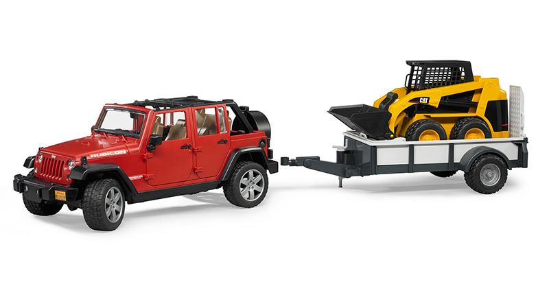 Игрушка Bruder Jeep Wrangler Unlimited Rubicon внедорожник c прицепом-платформой и колёсным мини погрузчиком CAT 02-925