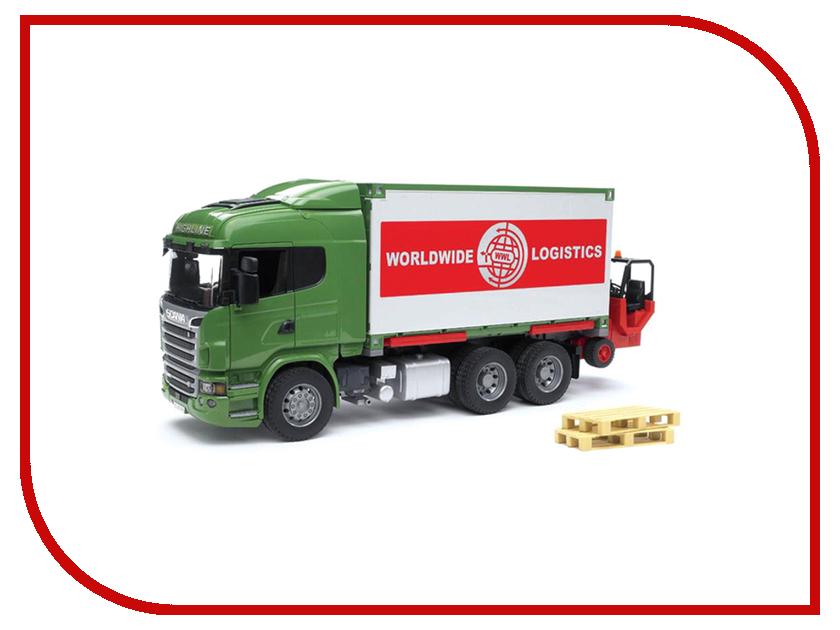 Игрушка Bruder Scania фургон с погрузчиком и паллетами 03-580 bruder лесовоз scania