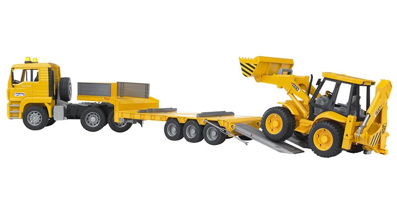 Игрушка Bruder MAN тягач с прицепом–платформой и колёсным экскаватором–погрузчиком JCB 4CX 02-776 игрушка bruder man самосвал с колёсным экскаватором liebherr 02 751