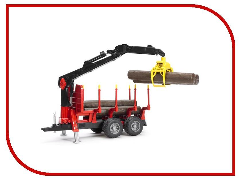 Игрушка Bruder Прицеп для перевозки леса с манипулятором и брёвнами 02-252<br>