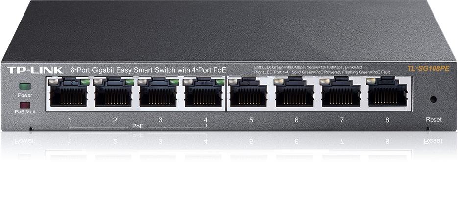 Коммутатор TP-LINK TL-SG108PE tp link av500 tl pa4010kit