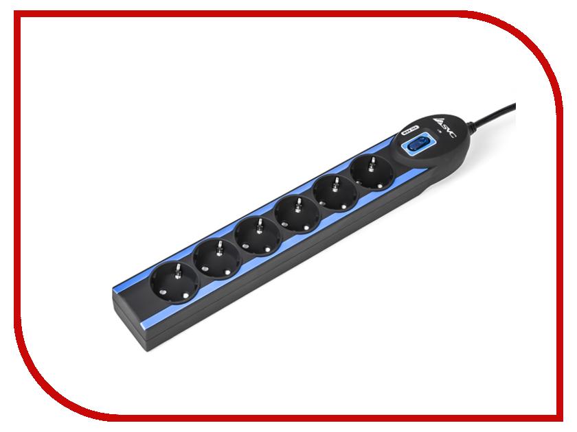 Сетевой фильтр SVC Excalibur 6 Sockets 1.5m Black-Blue G-2006-1.5BB<br>