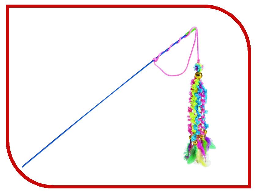 beeztees Удочка 6 вельветовых хвостиков с перьями