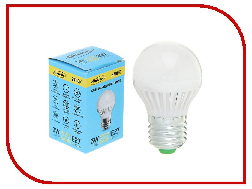 Лампочка Luazon Е27 3W 2700К SMD2835 240Lm 160-240V 1489107<br>