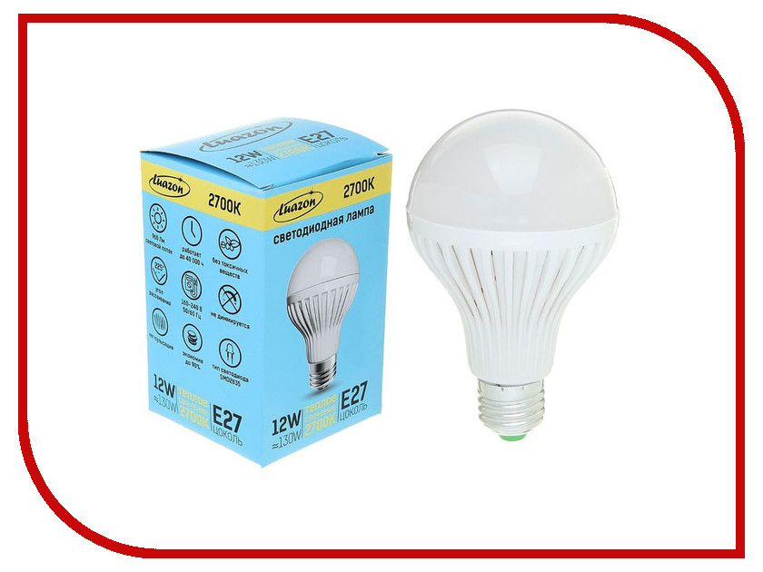 Лампочка Luazon Е27 12W 2700К SMD2835 960Lm 160-240V 1489110<br>