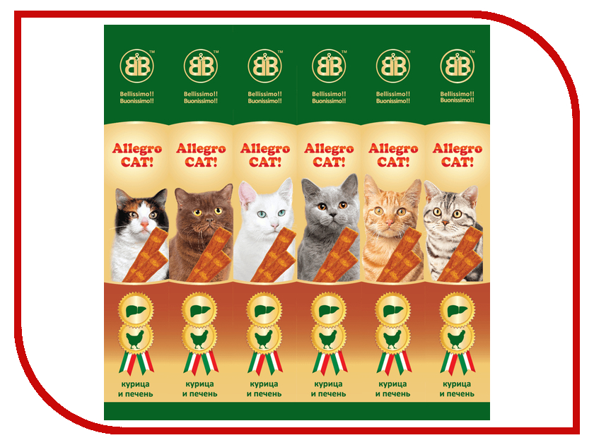 лакомство b&b allegro cat колбаски курица печень для кошек 6шт 36450 Лакомство B&B Allegro Cat Колбаски Курица Печень для кошек (6шт) 36450
