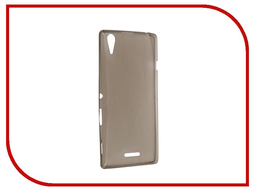 Аксессуар Чехол Sony Xperia T3 Krutoff Silicone Transparent-Black 11540