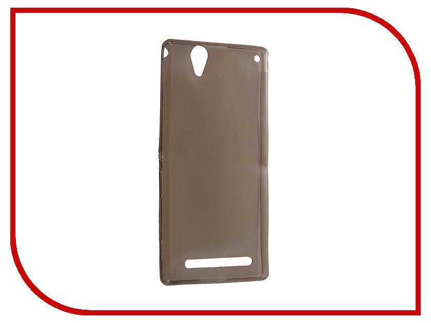 Аксессуар Чехол Sony Xperia T2 Krutoff Silicone Transparent-Black 11538<br>