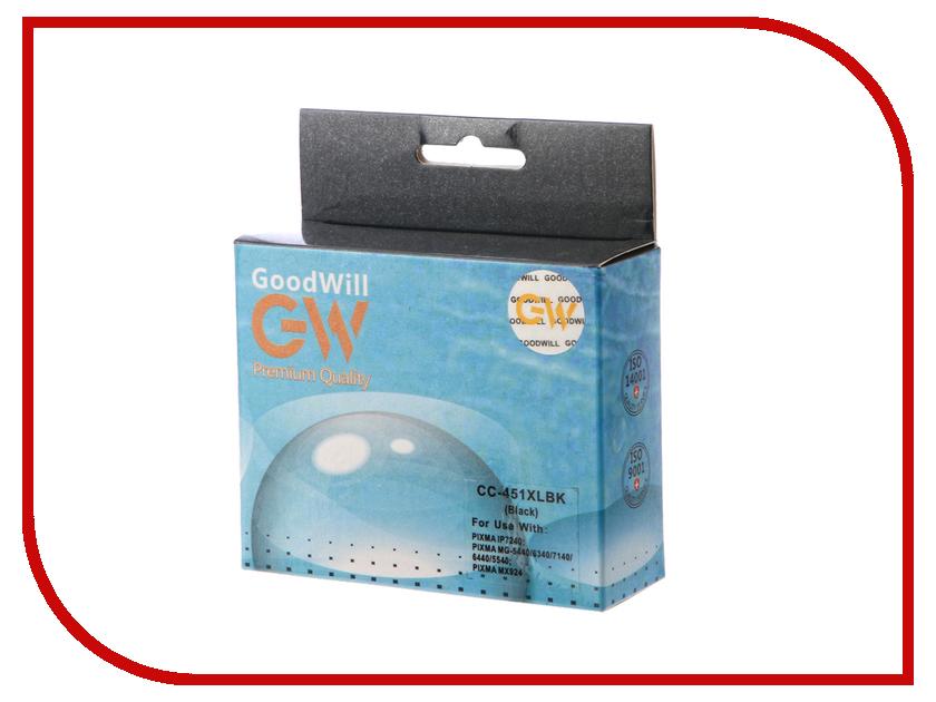 Картридж GoodWill GW-CLI-451BK/XL Black для Canon PIXMA iP7240/MG6340/MG5440 с чипом картридж струйный canon pgi 450xlpgbk 6434b001 черный для canon pixma ip7240 mg6340 mg5440