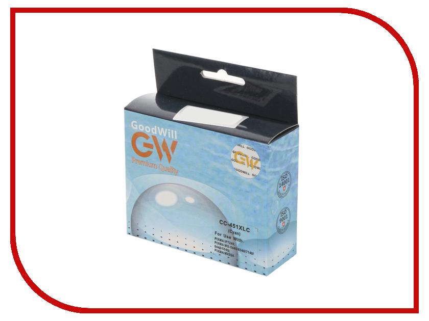 Картридж GoodWill GW-CLI-451C/XL Cyan для Canon PIXMA iP7240/MG6340/MG5440 с чипом картридж струйный canon pgi 450xlpgbk 6434b001 черный для canon pixma ip7240 mg6340 mg5440