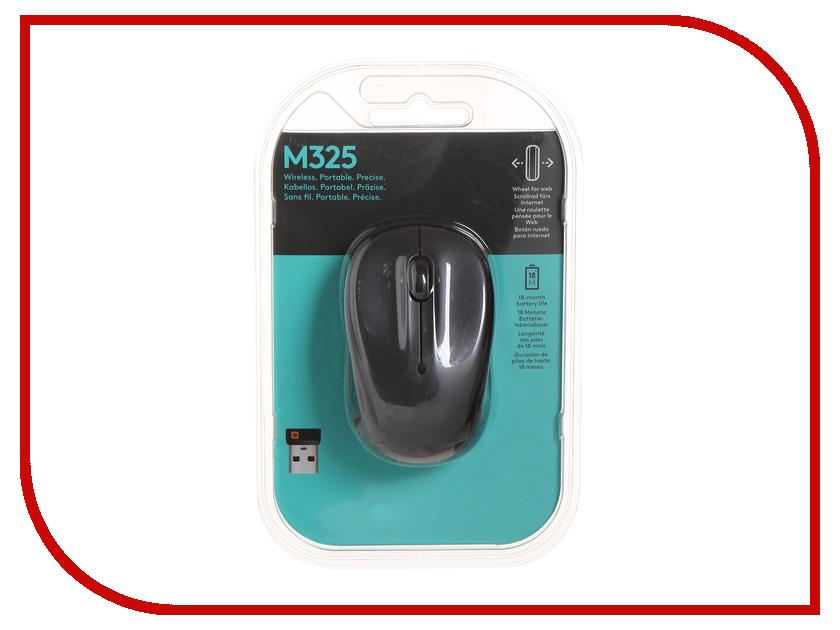 все цены на Мышь Logitech Wireless Mouse M325 Dark Grey USB онлайн