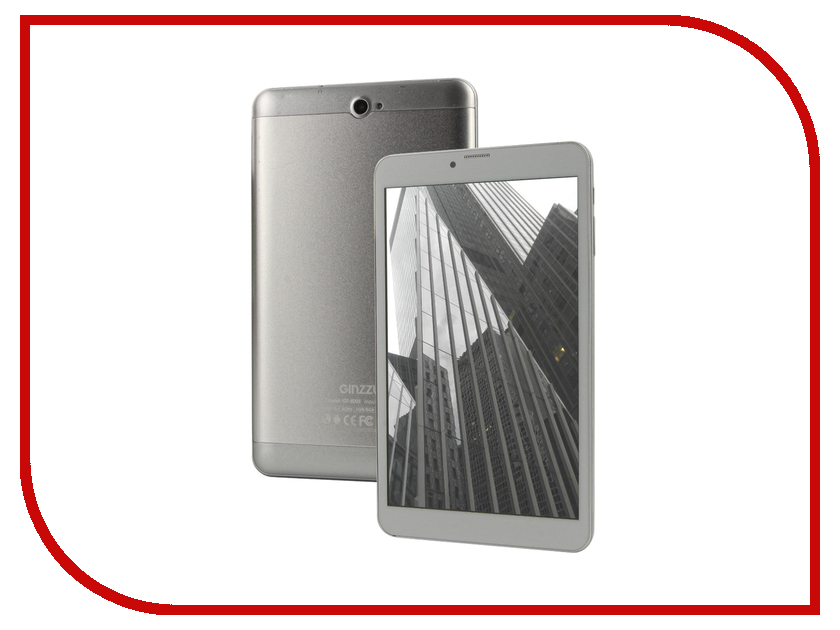 Планшет Ginzzu GT-8005 Silver (Spreadtrum SC7731 1.3 GHz/1024Mb/8Gb/GPS/3G/Wi-Fi/Bluetooth/Cam/8.0/1280x800/Android) планшет digma plane 9507m 3g black ps9079mg mt8321 1 2 ghz 1024mb 8gb 3g wi fi bluetooth cam 9 6 1280x800 android 390148