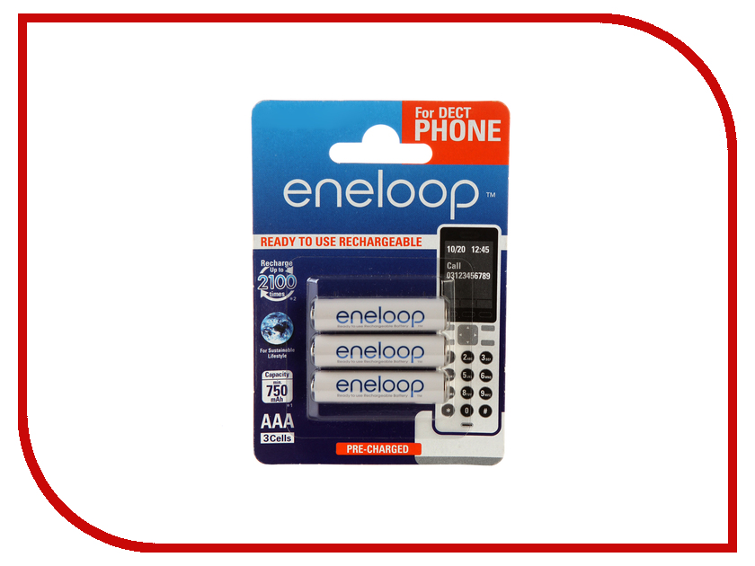 Аккумулятор AAA - Panasonic Eneloop 750 mAh (3 штуки) BK-4MCCE/3DE 84887 аккумулятор panasonic eneloop bk 4mcce 8be 750mah aaa bl8