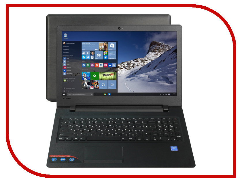 Ноутбук Lenovo 110-15IBR 80T700C5RK Intel Pentium N3710 1.6 GHz/2048Mb/500Gb/No ODD/Intel HD Graphics/Wi-Fi/Bluetooth/Cam/15.6/1366x768/Windows 10 64-bit<br>