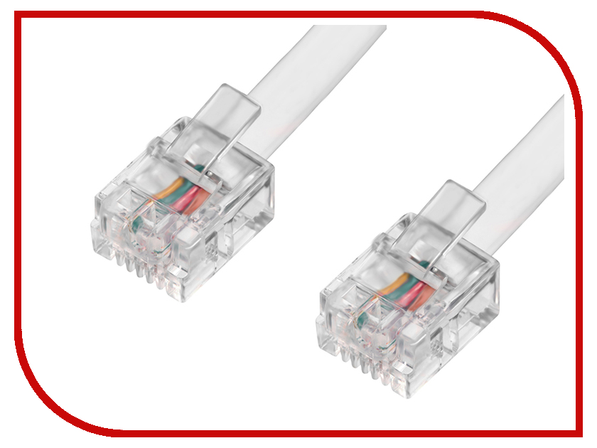 Аксессуар Greenconnect 6P4C/6P4C 2m White GCR-TP6P4C-2.0m<br>