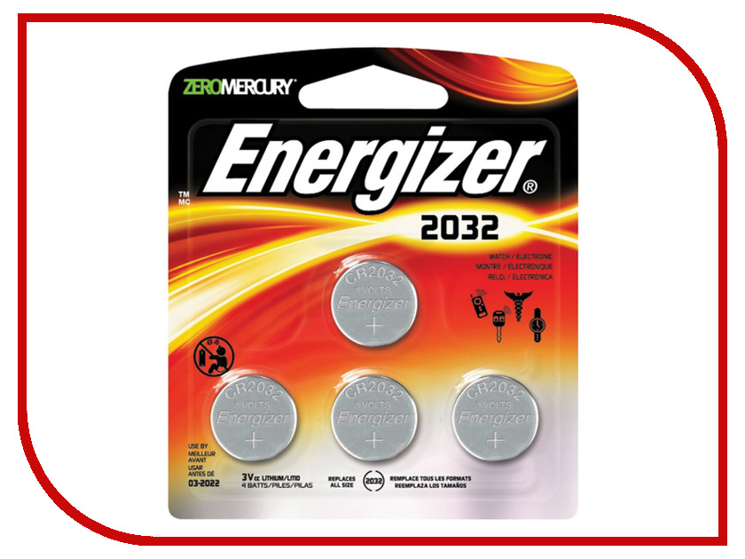 Батарейка CR2032 - Energizer Lithium CR2032 3V (4 штуки) gp cr2032 3v lithium cell button battery 5 piece pack