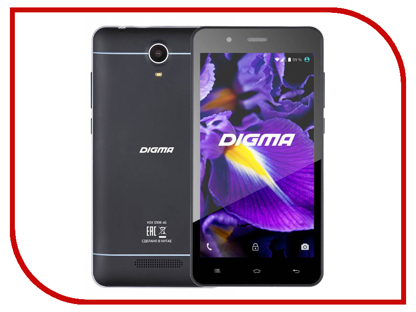 Сотовый телефон Digma VOX S506 4G Black сотовый телефон digma vox s507 4g white