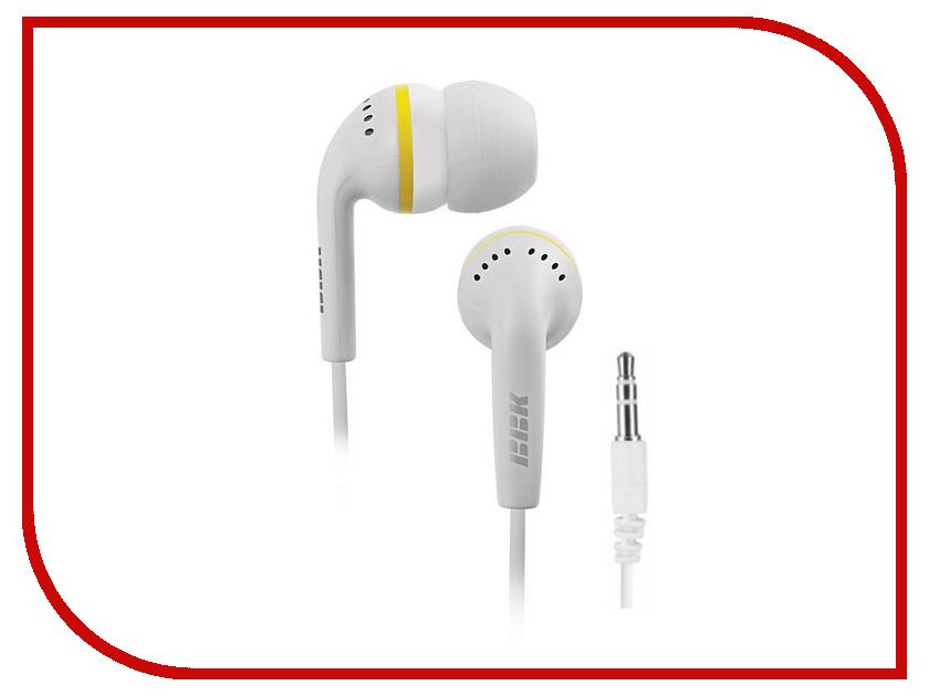 Наушники BBK EP-1240S White проводные наушники bbk ep 1401s white