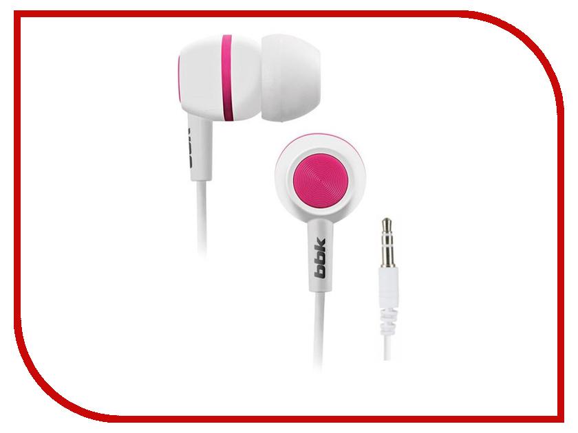 Наушники BBK EP-1230S White-Pink<br>