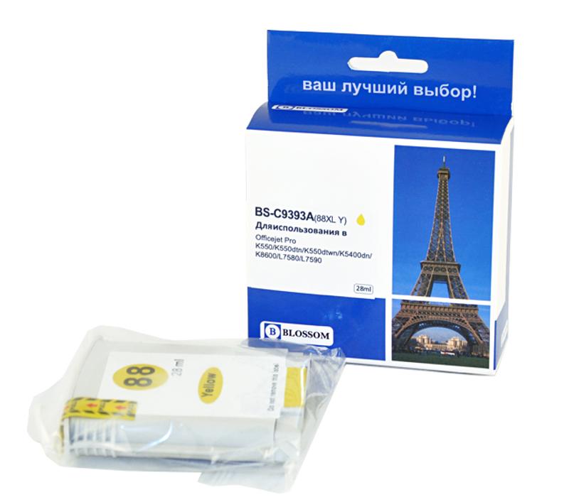 Картридж Blossom BS-C9393A 88XL Yellow для HP Officejet Pro K550/K550dtn/K550dtwn/K5400dn/K8600/L7580/L7590 hp 88xl c9393ae желтый