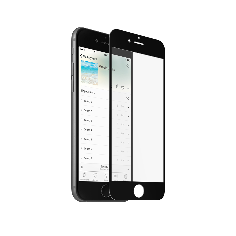 Аксессуар Защитное стекло Krutoff для APPLE iPhone 6 3D Black 20227
